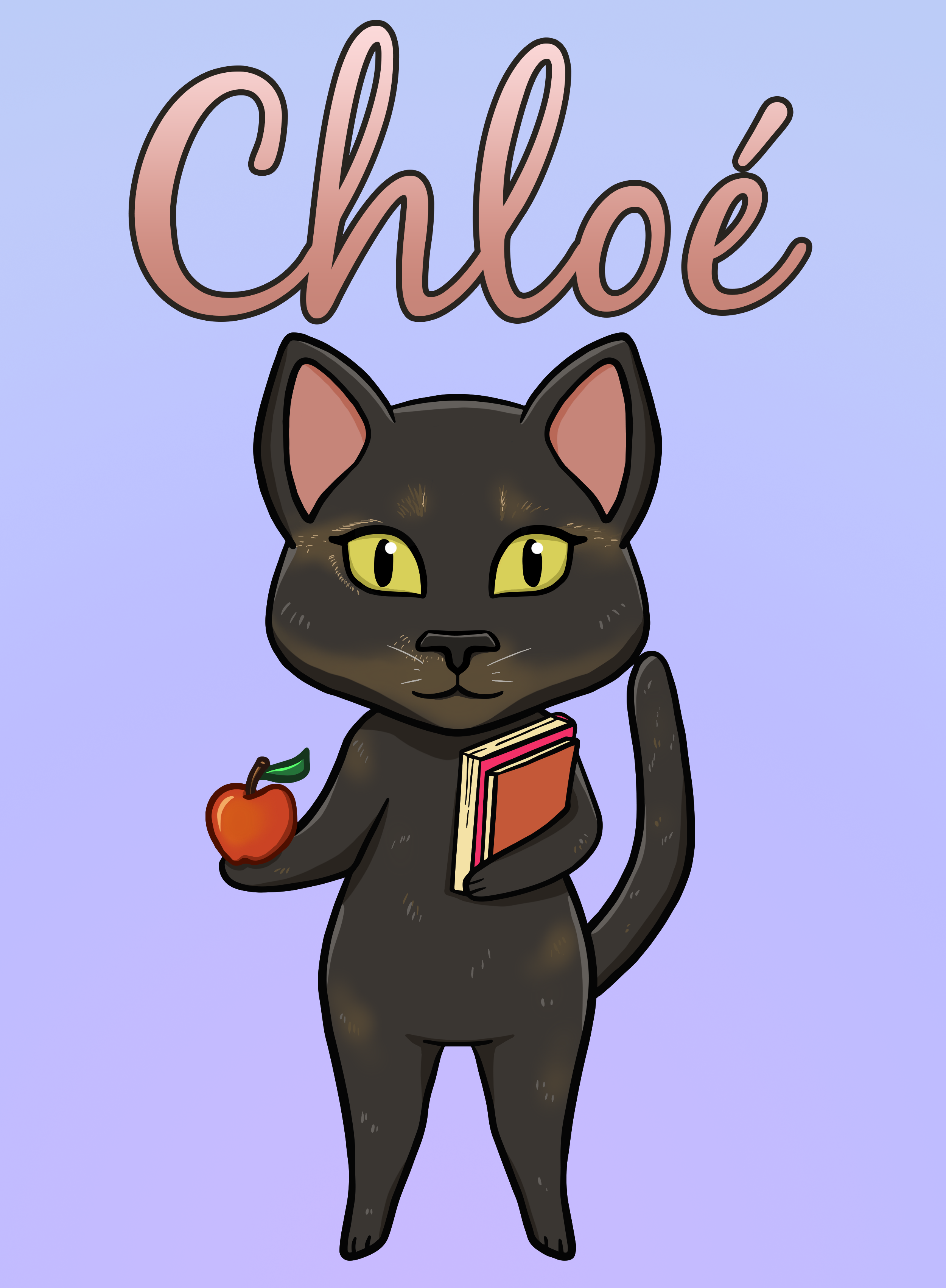 black cat holding apple